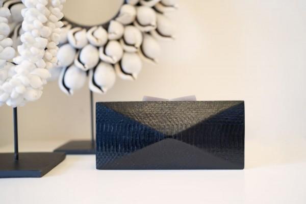 Minaudière Clutch Bag - Pyramid Cut - Glossy Black